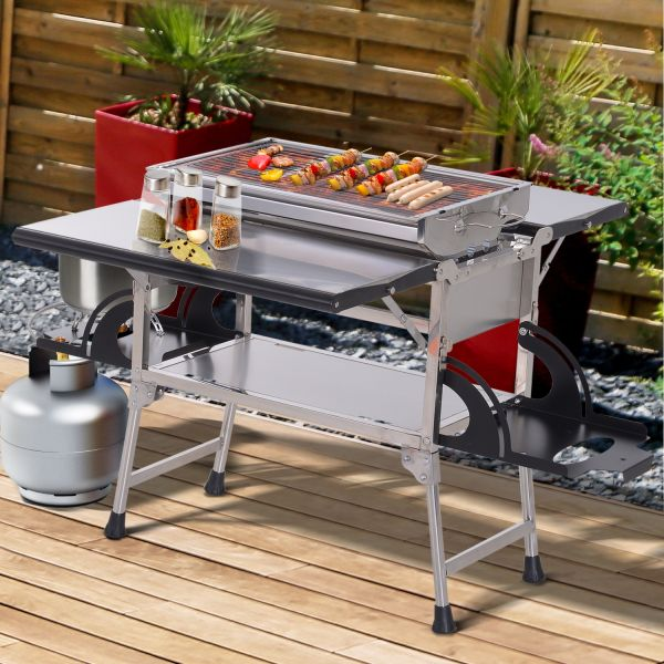 Outsunny 3-in-1 Foldable Steel Gas BBQ Grill