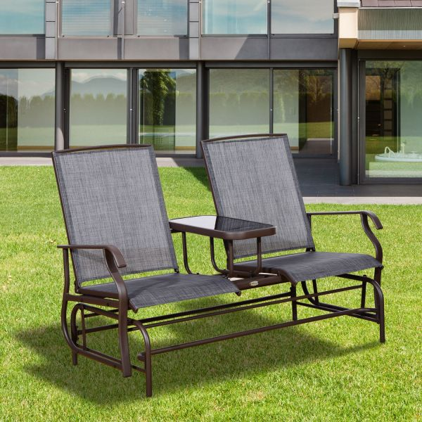 Outsunny Textilene Metal Double Swing Chair