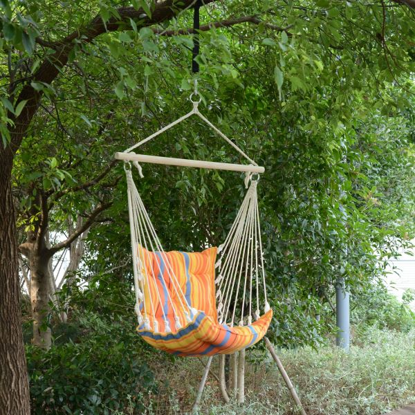 Outsunny Hanging Rope Hammock Chair - Brown or Orange