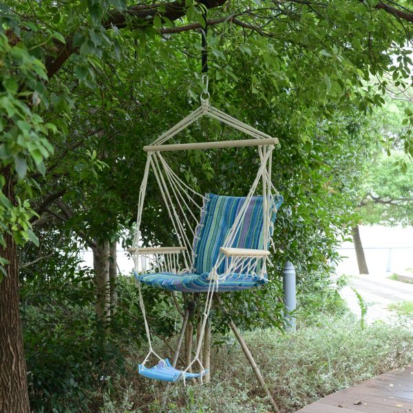 Outsunny Hanging Rope Hammock Swing Chair w/ Footrest
