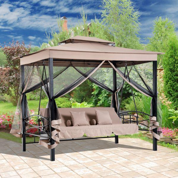 Outsunny 3-Seat Hammock Swing Bench w/ 2 Tier Canopy - Beige