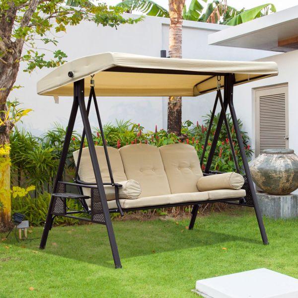 Outsunny 3-Seat Steel Hammock Swing Bench - Beige