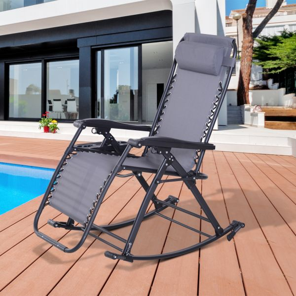Outsunny Zero-Gravity Recliner Lounge Rocker Chair - 3 Colours