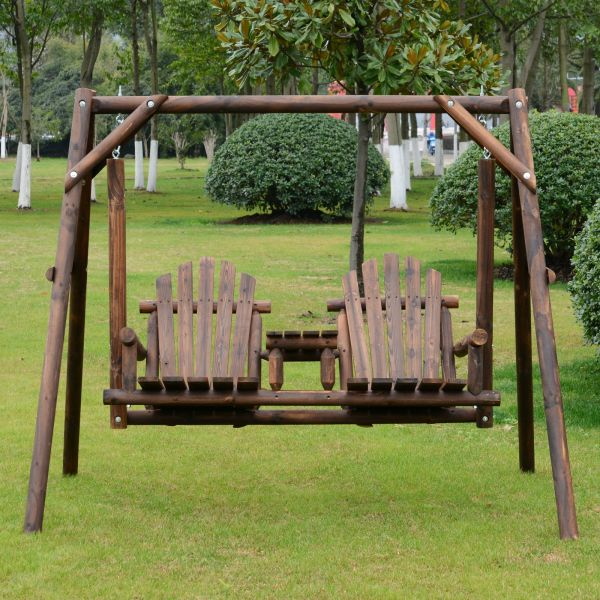 Outsunny 2-Seat Rustic Fir Wood Swing Bench