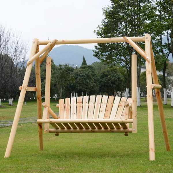 Outsunny 2-Seat Natural Fir Wood Swing Bench