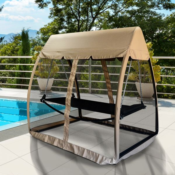 Outsunny Hanging Hammock Daybed Set with Mesh Screen