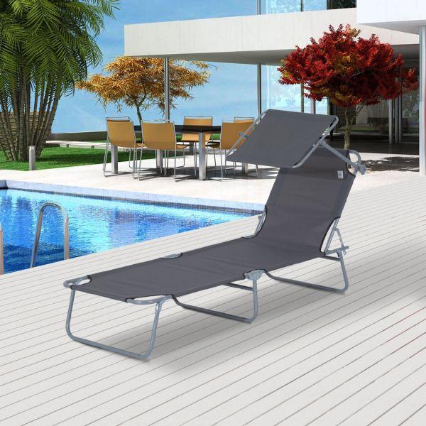 Outsunny Reclining Garden Shade Sun Lounger Chair - Black, Brown or Grey