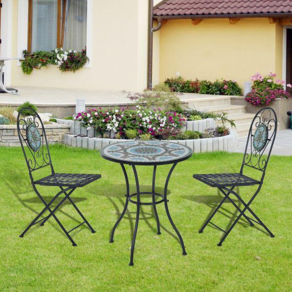 Outsunny 3PC Black Metal Mosaic Bistro Set