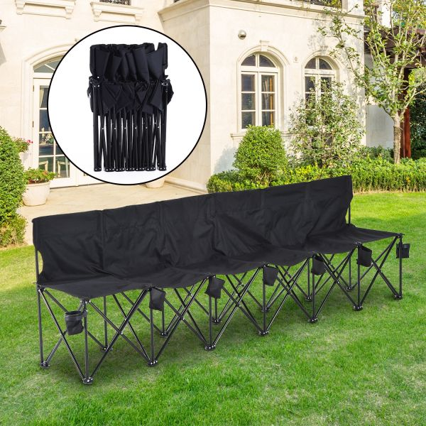 Outsunny 6 Seater Folding Spectator Chair in Black and Blue