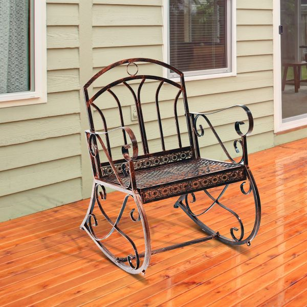 Outsunny Garden 1 Seater Rocking Chair in Vintage Bronze