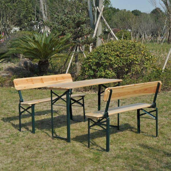 Portable Folding Camping Table and 2 Bench Set