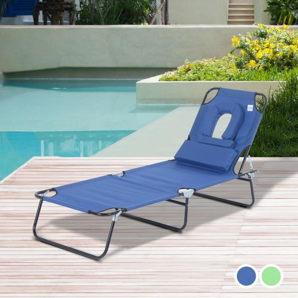 Outsunny Adjustable Sun Lounger with Pillow - 2 Colours