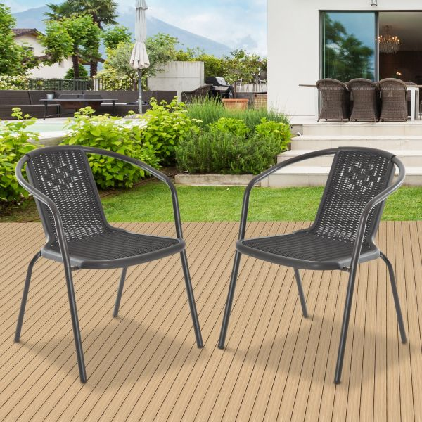 Outsunny Rattan Effect 2-Seat Dining Chair Set
