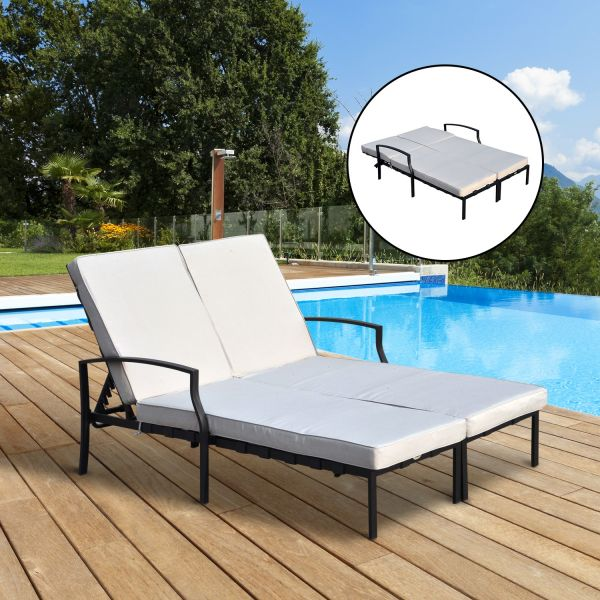 Outdoor 2 Seater Sun Lounger (Black or Light Grey)