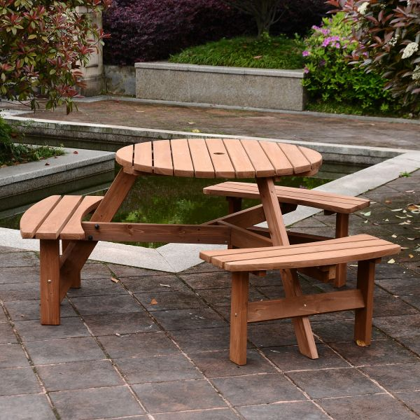 6 Person Parasol Table and Bench Set