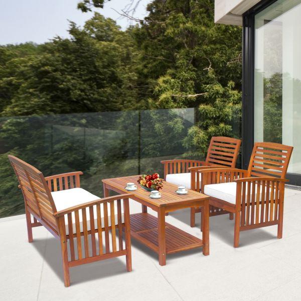 Outsunny 4PC Garden Acacia Wood Sofa & Table Set