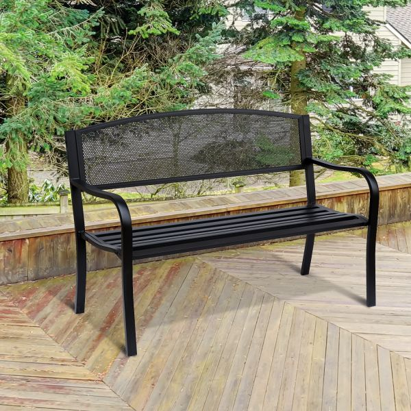 2 Seater Metal Garden Bench in Black