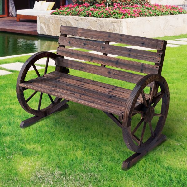 Wooden Cart 2 Seater Garden Bench