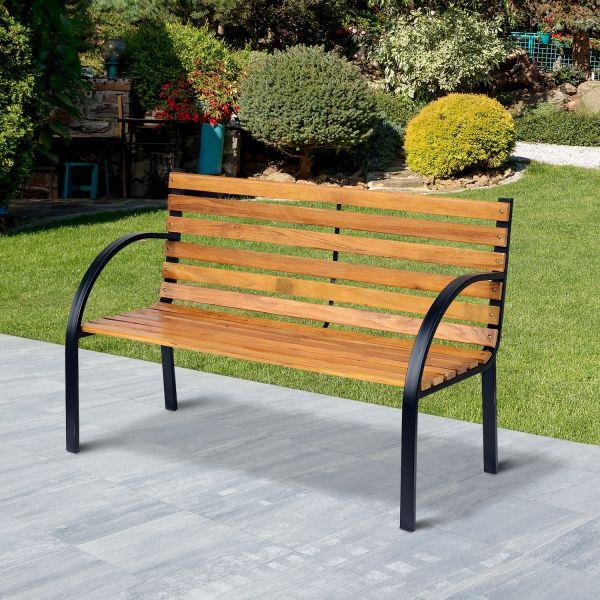 Wooden Garden Bench w/ Sturdy Metal Frame