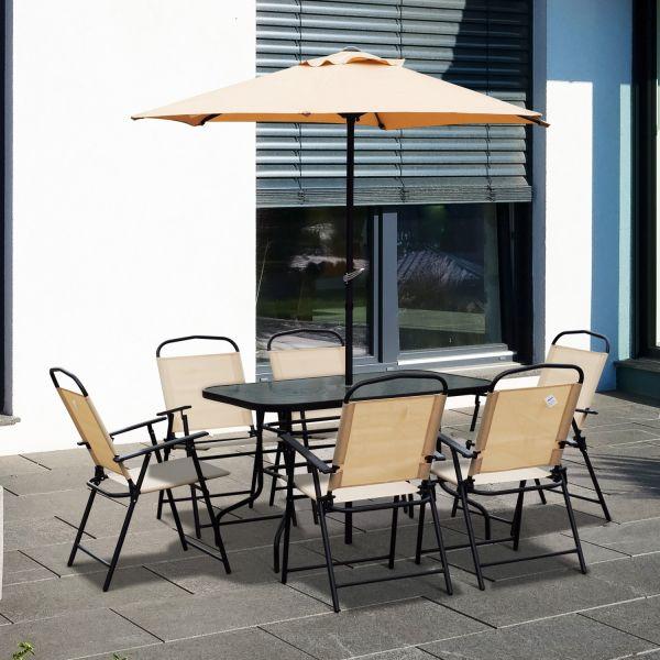 Outsunny 8PC Garden Dining Set with 2M Parasol Umbrella
