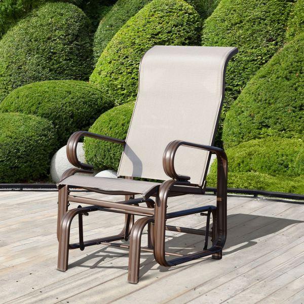 Outdoor Texteline Rocking Chair in Light Grey