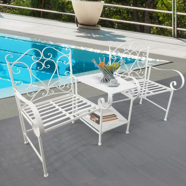 Outsunny 2-Seat Metal Scrollwork Chairs & Table Set - Black or White
