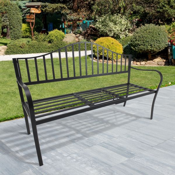 Outsunny Deluxe Black Metal Garden Bench w/ Middle Table