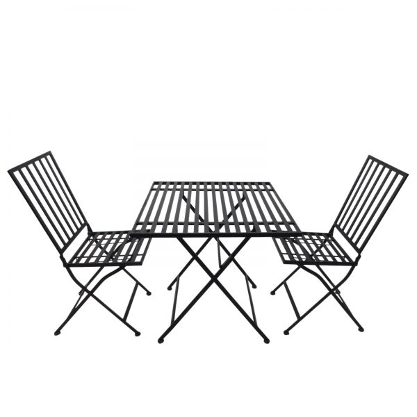 Outsunny 3PC Black Metal Square Bistro Set