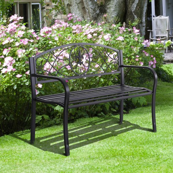Outsunny Scroll Back Black Metal 2-Seat Garden Bench