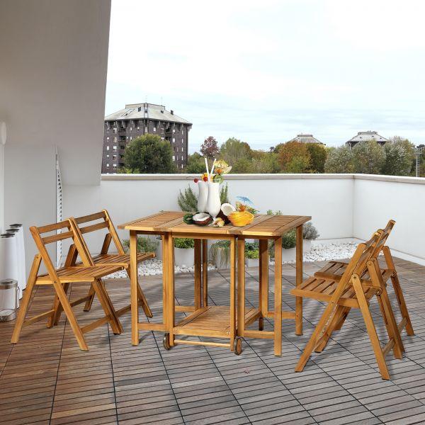 Outsunny 5PC Expandable Acacia Wood Dining Set
