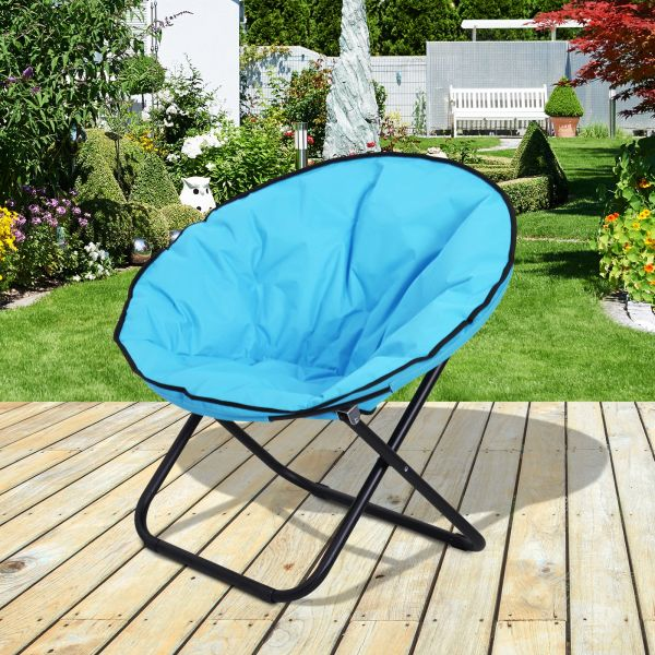 Outsunny Portable Padded Moon Garden Chair - Blue or Grey