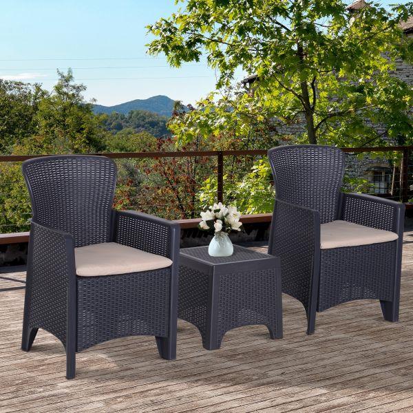 Outsunny 3PC Wicker Rattan Style Garden Bistro Set - Grey