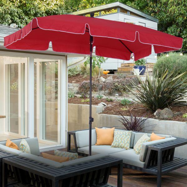 Outsunny Rectangular Aluminium Sun Parasol Umbrella - Grey or Red