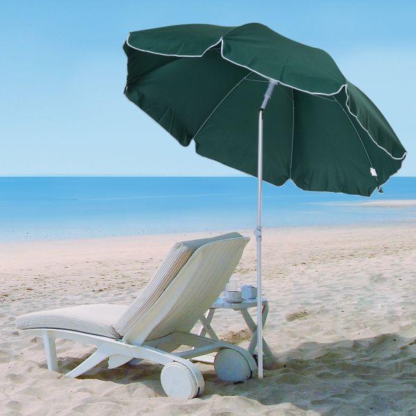 Outsunny 2.2M Tilt Beach Umbrella Parasol - Cream or Green