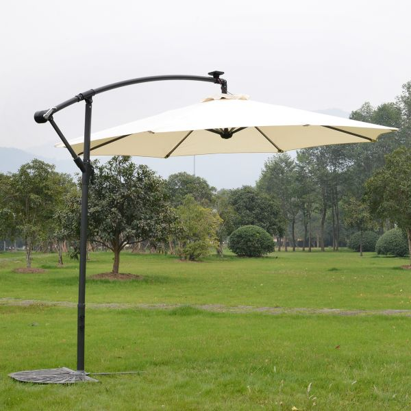 Outsunny 2.95M Offset LED Light Parasol Umbrella - White or Red