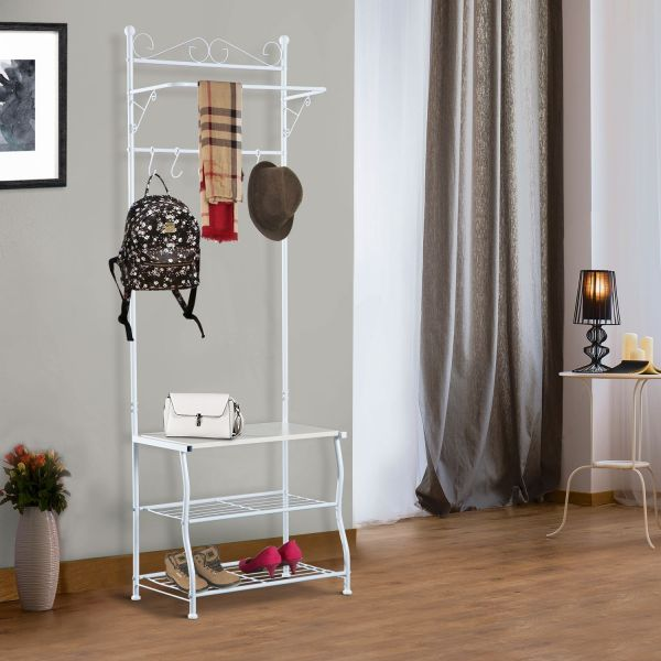 Entryway Multipurpose Metal Cloth Stand White