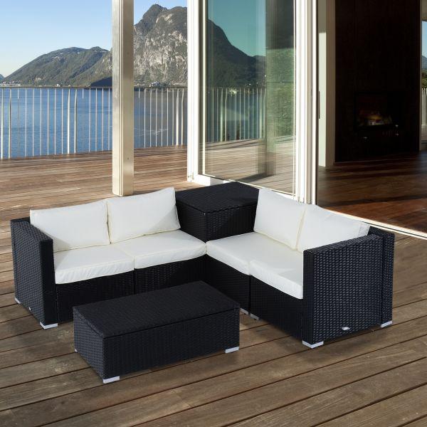 Outsunny 6PC Rattan Corner Storage Sofa Set - Black