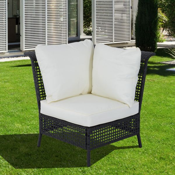 Outsunny Single Rattan Corner Chair - Black