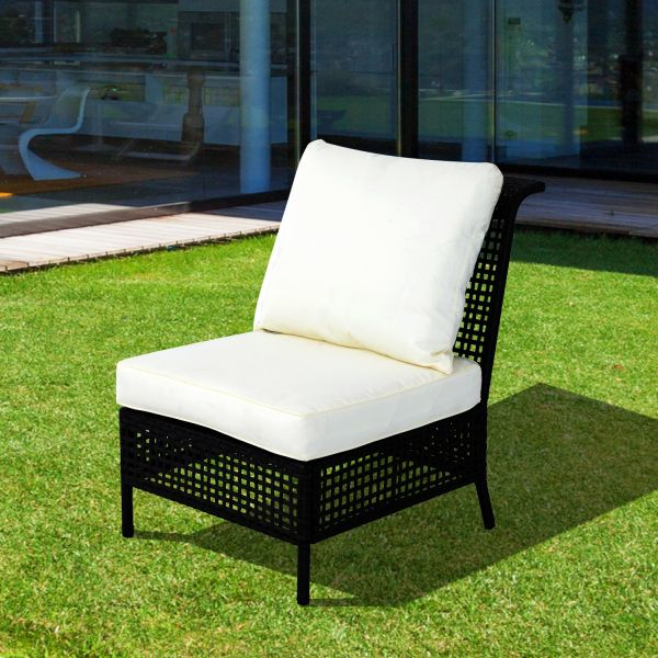 Outsunny Armless Rattan Middle Chair - Black