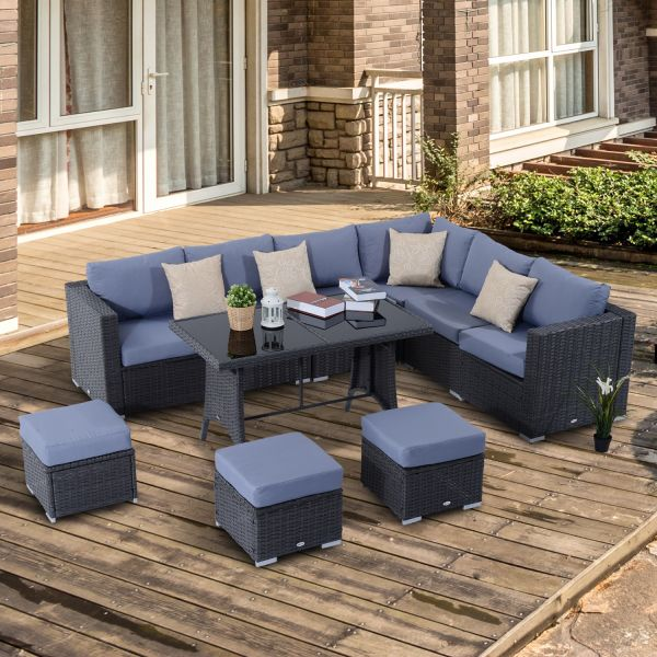 Outsunny 10PC Rattan Corner Dining Sofa Set - Black & Grey