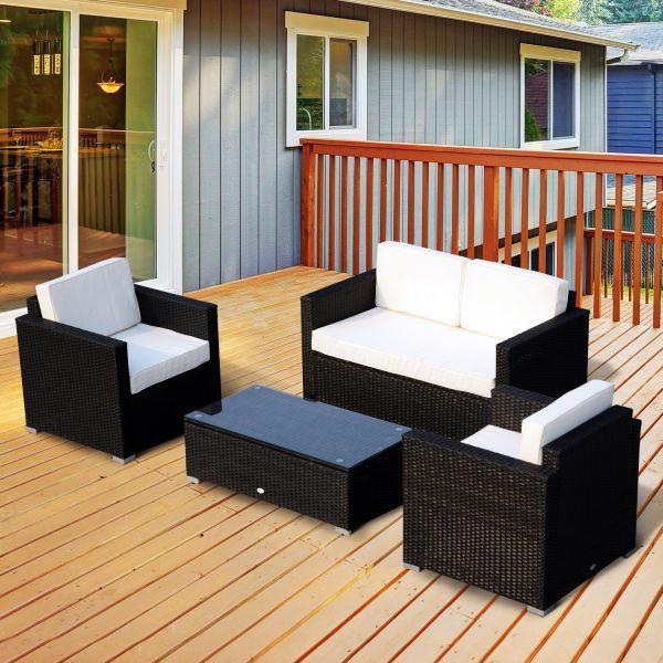 Outsunny 4PC Black Steel Rattan Sofa Set