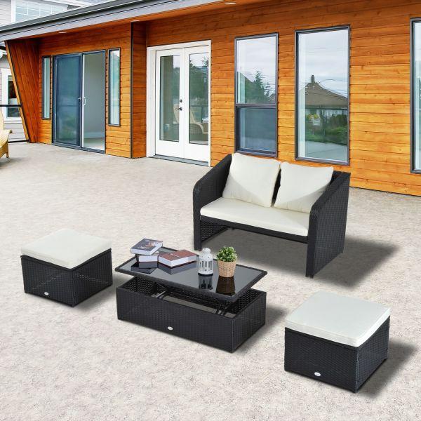 Outsunny 4PC Rattan Table & Sofa Set - Black