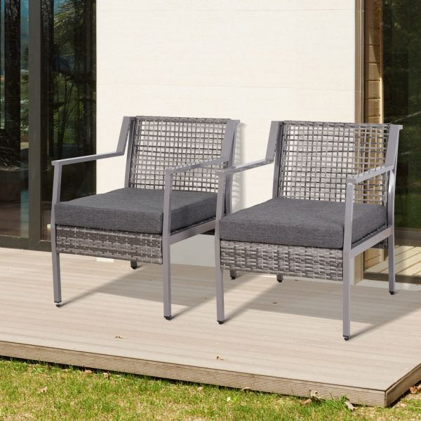 Outsunny 2PC Wicker Outdoor Chairs - Grey