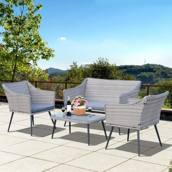 Outsunny 4-Seater Outdoor PE Rattan Table and Chairs Set - Light Grey