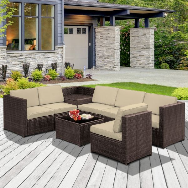 Outsunny 8PC Rattan Garden Sofa Set - Brown or Grey