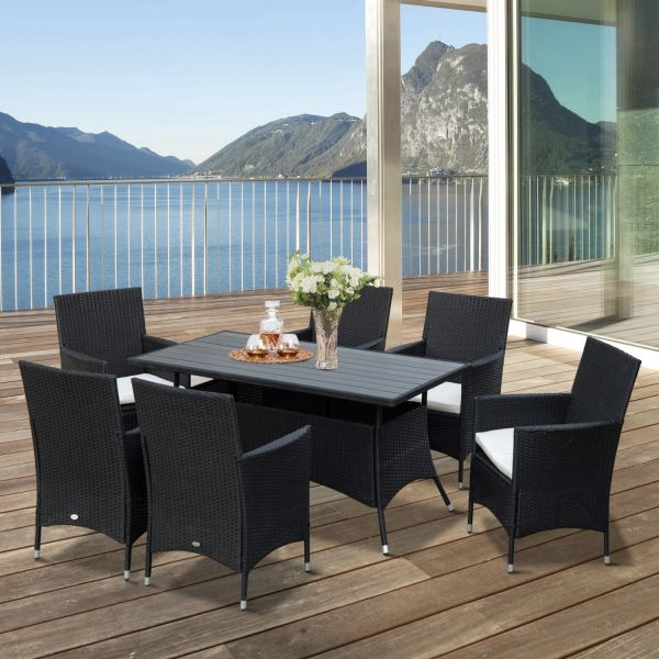 Outsunny 7PC Rattan PS Garden Dining Set - Black or Brown