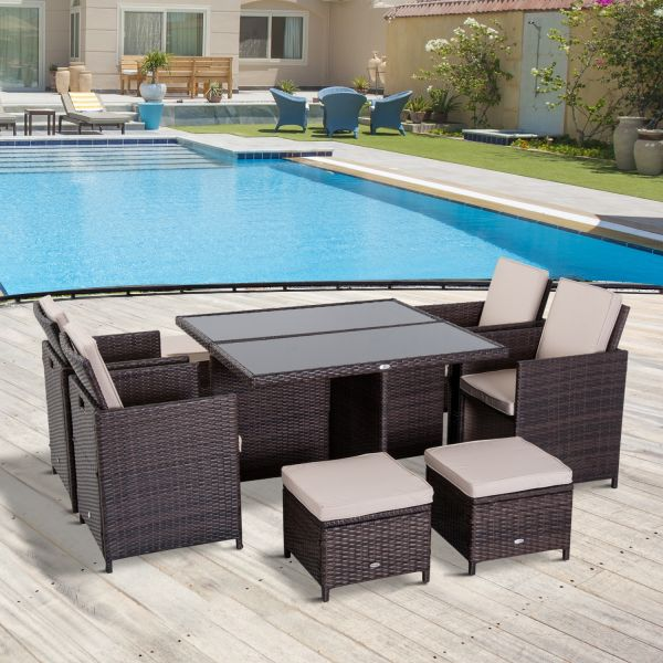 Outsunny 9PC Brown Rattan Dining Set