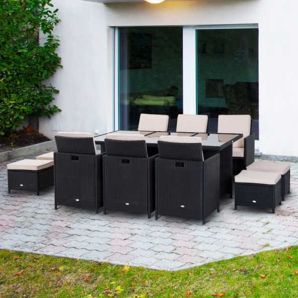 Outsunny 11pc Rattan Garden Furniture in Black and Brown