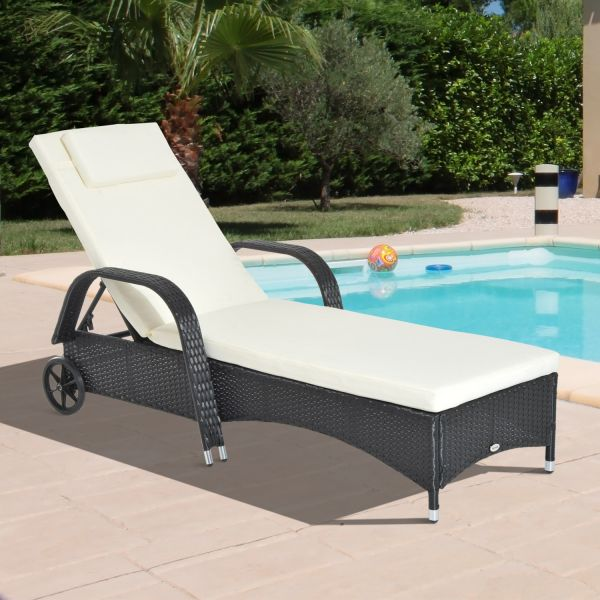 Outsunny Adjustable Rattan Sun Lounger Chair - Black, Brown or Grey