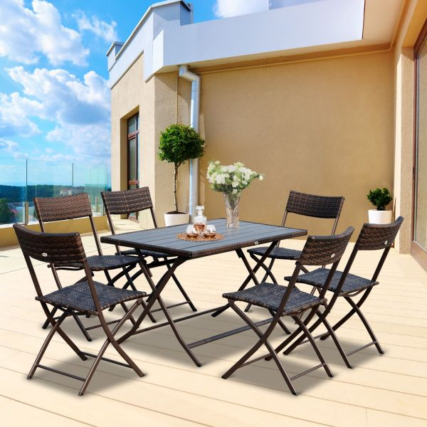 Outsunny 7PC Rattan Polywood Dining Set - Brown